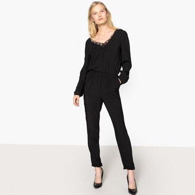 Combinaison-pantalon avec décolleté V dentelle dos Combinaison-pantalon avec décolleté V dentelle dos La Redoute Collections