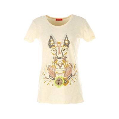T-shirt z okrągłym dekoltem, nadrukiem i krótkim rękawem RENE DERHY