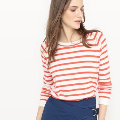 Пуловер в полоску в морском стиле из хлопка и шелка La Redoute Collections