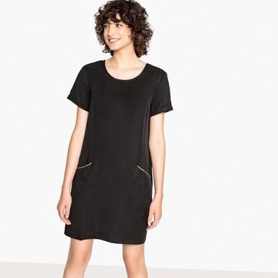 Prosta sukienka, dekolt w serek z tyłu, krótki rękaw Prosta sukienka, dekolt w serek z tyłu, krótki rękaw VILA