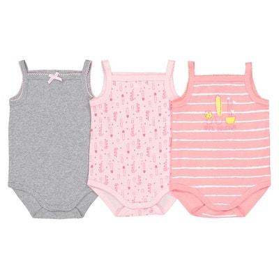 Body fines bretelles coton 0-3 ans (lot de 3) Body fines bretelles coton 0-3 ans (lot de 3) La Redoute Collections