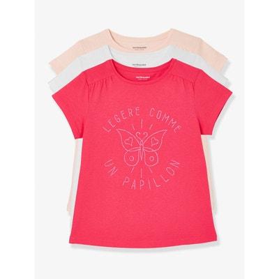 Lot de 3 T-shirts manches courtes fille VERTBAUDET