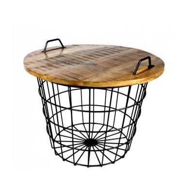 Table Basse Ronde Style Industriel en Bois et Métal Flexo WADIGA