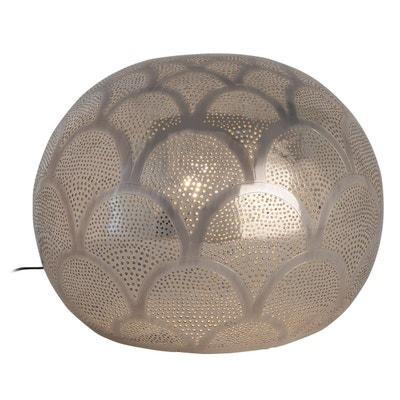 Lampe boule LOU argentée en métal ajouré KERIA