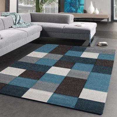 tapis de salon moderne design brillance cube polypropylne un amour de tapis - Tapis Turquoise