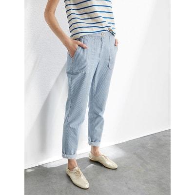 Pantalon chino femme en coton rayé CYRILLUS