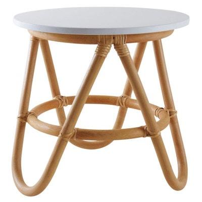 Petite table d'appoint en rotin et MDF laqué Petite table d'appoint en rotin et MDF laqué AUBRY GASPARD