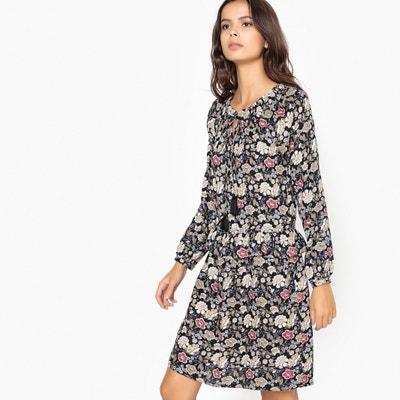 Vestido com estampado às flores, folhos na cintura Vestido com estampado às flores, folhos na cintura La Redoute Collections
