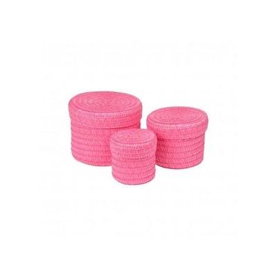Set de 3 Boîtes Rondes en Plastique Tressé Set de 3 Boîtes Rondes en Plastique Tressé HOME BAIN