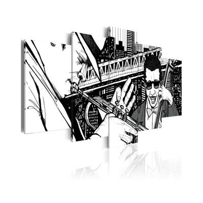 Tableau - 5 tableaux - Concert de jazz sur fond de gratte-ciels de New York - 5 pièces 100 x 50 RECOLLECTION