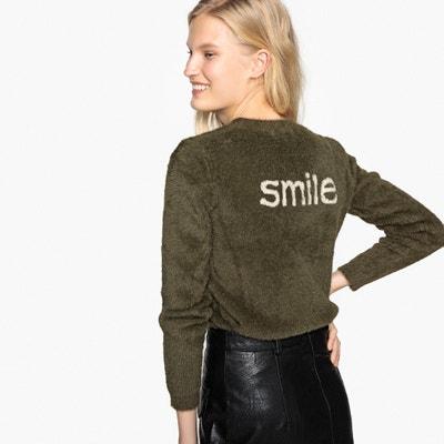 Пуловер с круглым вырезом с контрастным принтом сзади Пуловер с круглым вырезом с контрастным принтом сзади SEE U SOON