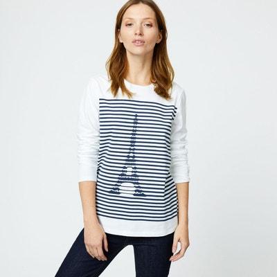 Tee shirt coton manches 3 4 femme en solde   La Redoute d72a64ce00e2