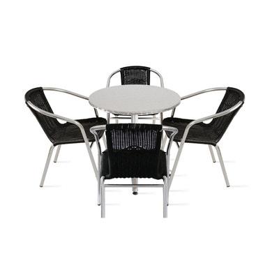 Table De Jardin Ronde Et 4 Fauteuils En Aluminium Rsine