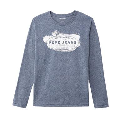 T-shirt col rond manches longues imprimé devant T-shirt col rond manches longues imprimé devant PEPE JEANS