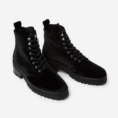 Boots à lacets cuir velours THE KOOPLES