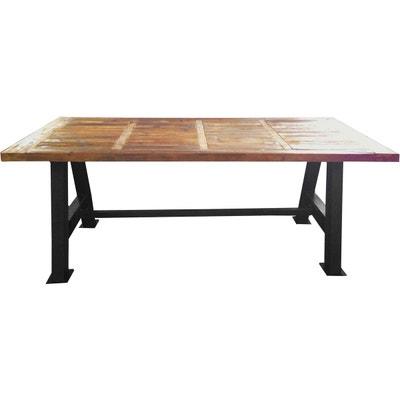 Grande table industrielle bois et métal 200 cm Grande table industrielle bois et métal 200 cm ANTIC LINE CRÉATIONS