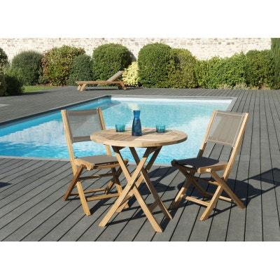 Table et chaise en teck en solde   La Redoute