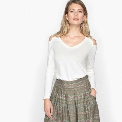 T-shirt col V uni, manches longues ANNE WEYBURN