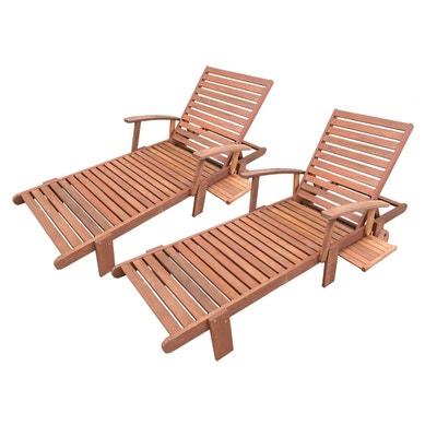bain de soleil pliant en bois exotique tokyo maple marron clair - Transat En Bois