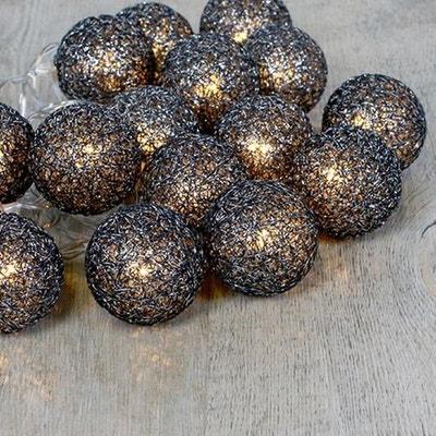 Guirlande Lumineuse 16 Boules Coton Pailleté Noir 3,5 cm SKYLANTERN