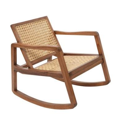 Rocking chair bois et rotin 80x65x77xcm Rocking chair bois et rotin 80x65x77xcm PIER IMPORT