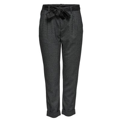 Pantalon à pinces, jambes ajustées, ceinture ruban ONLY