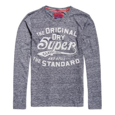 T-shirt scollo rotondo maniche lunghe fantasia davanti SUPERDRY
