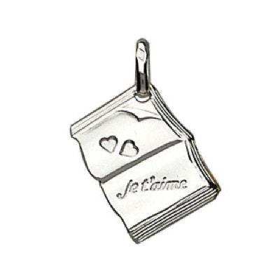 """Pendentif Livre Coeurs """"Je t'aime"""" Argent 925 Pendentif Livre Coeurs """"Je t'aime"""" Argent 925 SO CHIC BIJOUX"""