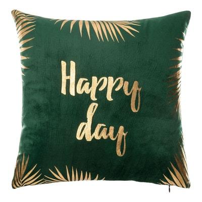 Coussin velours 40x40 cm Green Edition Happy day DECORATIE
