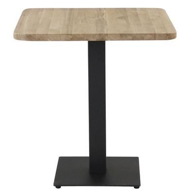 table bistrot plateau chne carr 70 x 70 cm avec coins arrondis pitement mtal noir carr
