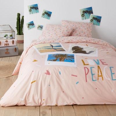Love Peace Cotton Duvet Cover Love Peace Cotton Duvet Cover La Redoute Interieurs