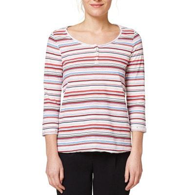 T-Shirt, geknöpfter Rundhalsausschnitt, reine Baumwolle ESPRIT