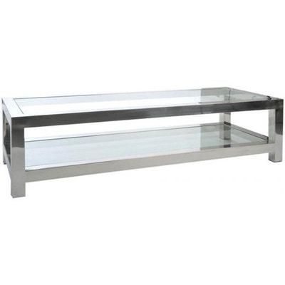 Table basse Acier Inox/Verre Argenté JOLIPA