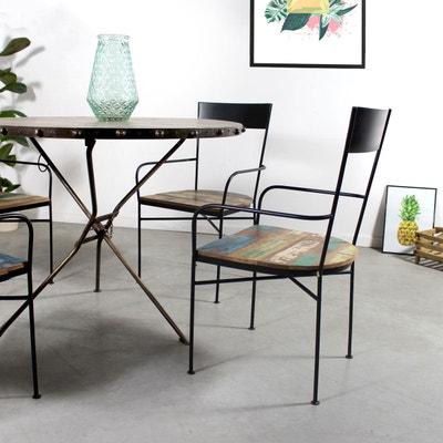 Chaise industrielle avec accoudoirs, métal et bois  |  MK124 Chaise industrielle avec accoudoirs, métal et bois  |  MK124 MADE IN MEUBLES