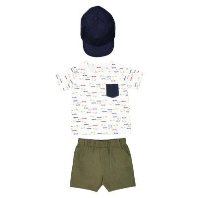 Conjunto de camiseta, bermudas y gorra 1 mes-3 años La Redoute Collections