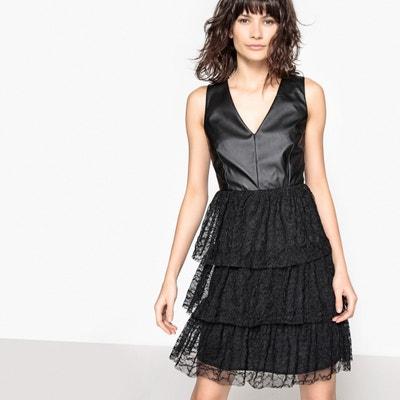 Kleid aus Materialmix, Kunstleder, Spitzenvolants Kleid aus Materialmix, Kunstleder, Spitzenvolants La Redoute Collections