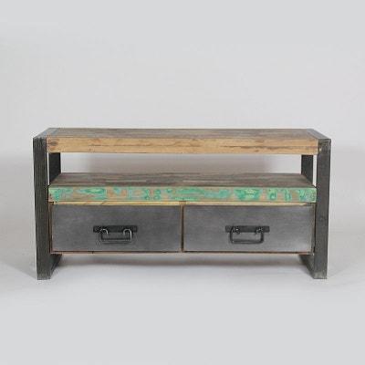 Meuble TV industriel 2 tiroirs bois et métal  |  MOX11 MADE IN MEUBLES