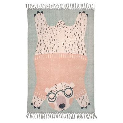 ec025889e4d62b ODEN l ourson à lunettes vert, rectangle pour Chambre bébé par Nattiot ODEN  l