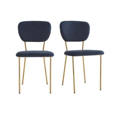 Chaises Design En Velours Bleu Et Structure Mtal Dor Lot De 2 LEPIDUS