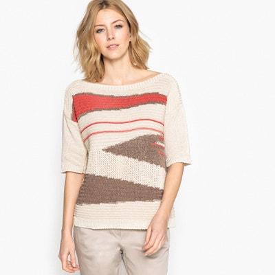Sweter z fantazyjnej dzianiny z krótkim rękawem ANNE WEYBURN