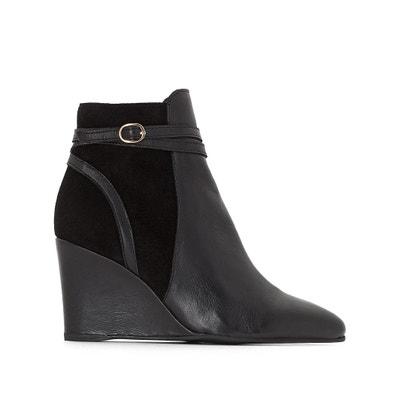 Boots in pelle con la zeppa La Redoute Collections