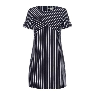 Striped Print Short-Sleeved Shift Dress Striped Print Short-Sleeved Shift Dress YUMI
