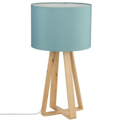 Lampe pieds bois naturel style scandinave et abat-jour bleu H47,5cm PIER IMPORT