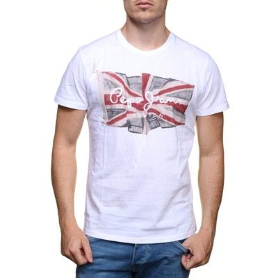 T Shirt Pepe Jeans Flag Logo Pm501193 800 Blanc PEPE JEANS