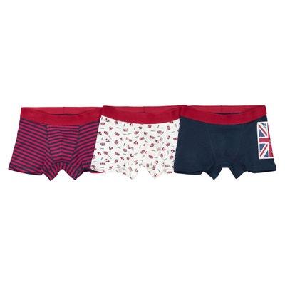 Lot de 3 boxers coton thème Anglais, 2/3-10/12 ans La Redoute Collections