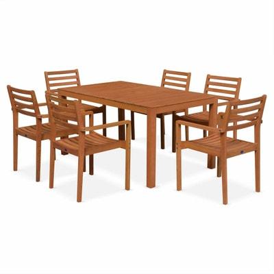 salon de jardin en bois cadaques table 150cm rectangulaire 6 fauteuils eucalyptus fsc salon - Chaise Table Jardin