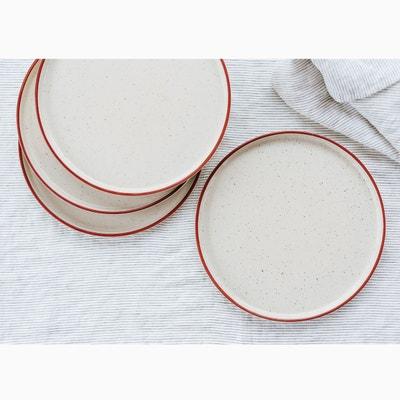 Lot 4 assiettes plates en grès Lot 4 assiettes plates en grès HELLO BLOGZINE X LA REDOUTE