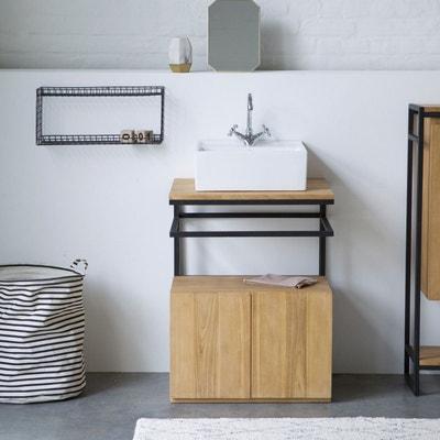 meuble salle de bain en en mtal et bois de teck 60 leonce tikamoon - Meuble De Salle De Bain En Teck