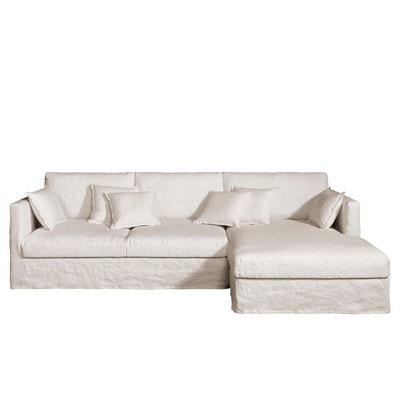 Canapé d'angle fixe Néo Kinkajou, lin froissé AM.PM
