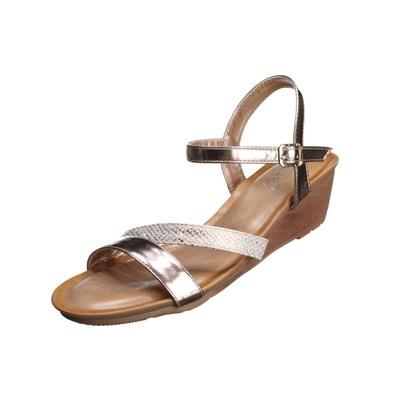 Sandale compensée à lanières Sandale compensée à lanières LEADER MODE